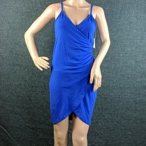 NWT Charlotte Russe Night Rusched Faux Wrap Dress